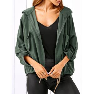 Zippered Drawstring Hooded Jacket - Army Green - 2xl