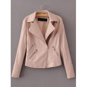 PU Fitting Zip-Up Motorcycle Jacket - Pink - S