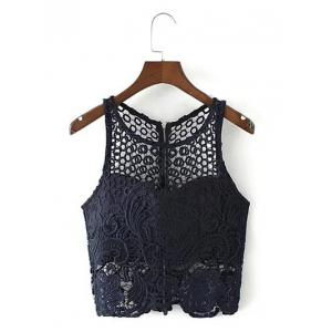 Cut Out Zippered Lace Tank Top