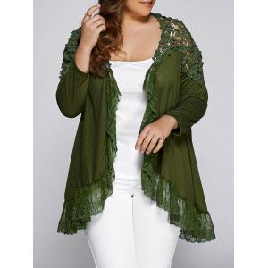 Plus Size Openwork Asymmetric Hem Top - Army Green - Xl