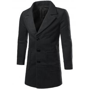 Lapel Collar Big Pocket Wool Blend Coat