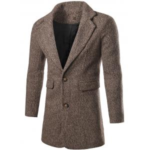 Single Breasted Flap Pocket Tweed Coat - Coffee - L