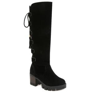 Platform Tassels Tie Up Knee-High Boots
