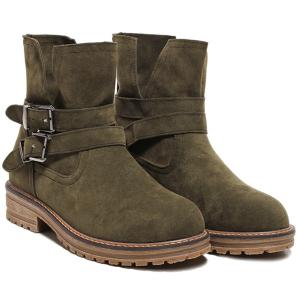 Flat Heel Dark Colour Short Boots - Army Green - 39