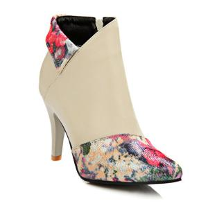 Color Splicing Floral Print Pointed Toe Ankle Boots - Beige - 38