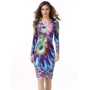 Peacock  Feather Printed Bodycon Midi Dress With Sleeves - Peacock Blue - S