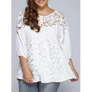 Hollow Out Patchwork Plus Size Blouse