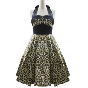 High Waisted Leopard Halter A Line Dress