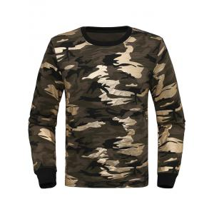 Crew Neck Camouflage Sweatshirt - Army Green - M