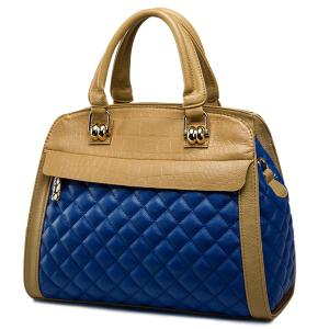 Quilted Argyle Pattern Embossed Tote Bag - Blue - 130cm