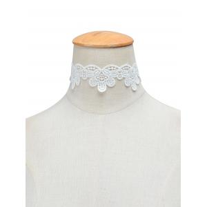 Knitted Floral Choker Necklace - White - S