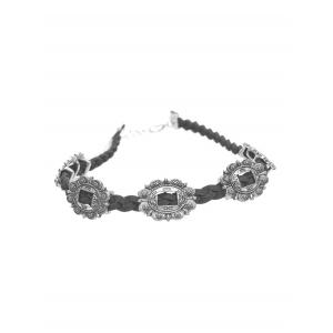 Alloy Braid Engraved Flower Choker Necklace