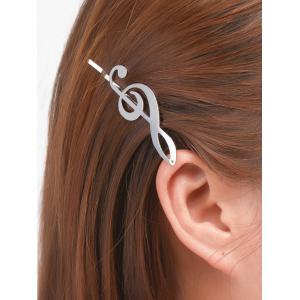 Alloy Music Note Hair Accessory - Silver