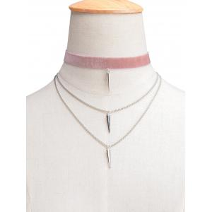 Layered Rivet Velvet Choker Necklace - Light Pink - L