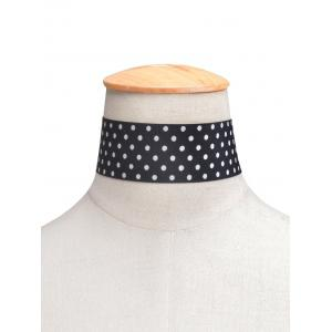 Polka Dot Print Wide Choker Necklace