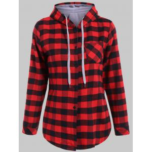 Plaid Pocket Design Buttoned Black Red Hoodie - Red With Black - 2xl