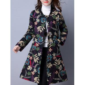 Flower Print Buttoned Quilted Coat - Black - M