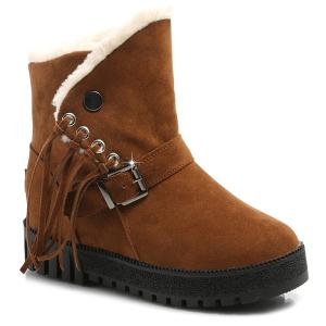 Platform Buckle Fringe Snow Boots - Brown - 38