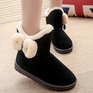 Tassel Bow Flock Snow Boots