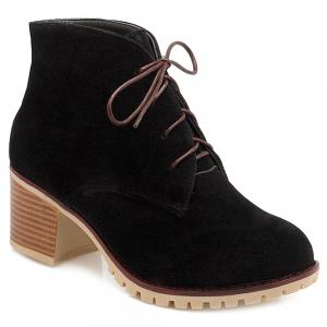Lace-Up Chunky Heel Suede Ankle Boots