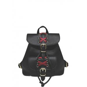 Criss-Cross Eyelet Buckles PU Leather Backpack - Black - 39