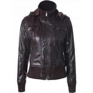 Faux Leather Zippered Patchwork Biker Jacket - Coffee - S