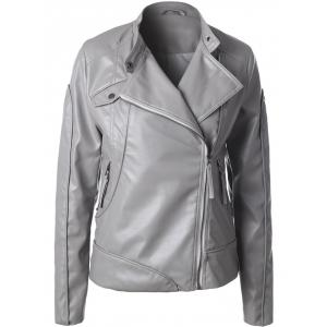 Inclined Zipper Faux Leather Biker Jacket - Gray - L
