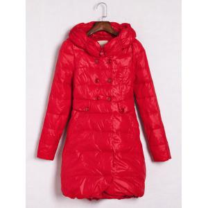 Hooded Double-Breasted Coat - Red - L