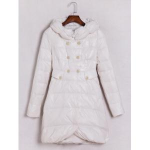 Hooded Double-Breasted Coat - White - L