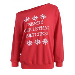 Casual Skew Neck Christmas Pullover Sweatshirt