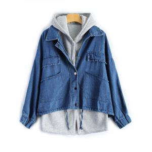 Hooded Waistcoat With Denim Jacket Twinset - Deep Blue - S