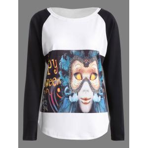 Raglan Sleeves Vampire Print Halloween T-Shirt - White And Black - Xl