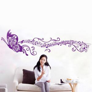 Artistic Butterfly Musical Note Room Decor Wall Stickers - Purple - 60*90cm