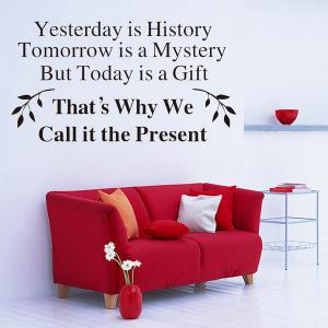 Home Decor Yesterday Is History Quote Wall Stickers - Black - 24*35cm