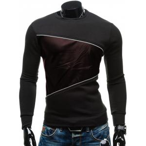 PU-Leather Splicing Design Color Block Crew Neck Sweatshirt