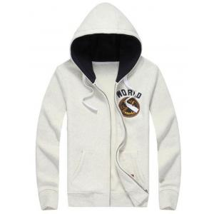 Hooded Zip Up Letters Applique Flocking Hoodie