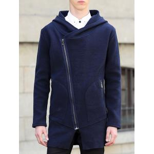 Hooded Oblique Zipper Design Lengthen Knit Blends Cardigan