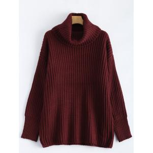 Drop Shoulder Turtleneck Chunky Sweater - Wine Red - One Size