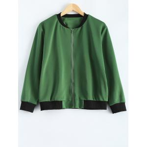 Plus Size  Fitted Bomber Jacket - Army Green - 3xl