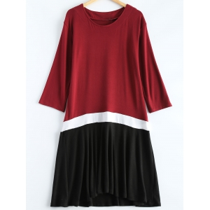 Plus Size Color Block Ruffle Long Sleeve Dress - Wine Red - 3xl
