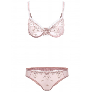 See-Through Bowknot Lace Bra Panty Set - Pink - 75a