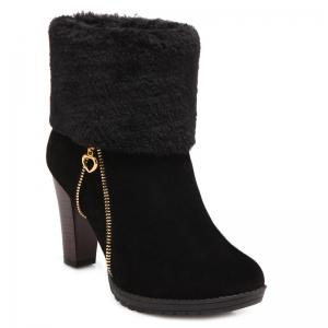 Zip Furry Chunky Heel Boots - Black - 38