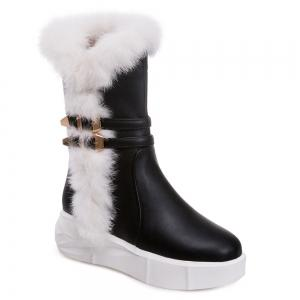 Fuzzy Double Buckles Platform Boots