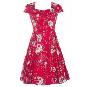 Splicing Skull Floral Print Party Dress