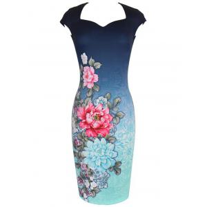 Sheath Flower Print Vintage Dress