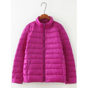 Long Sleeve Padded Down Jacket - Purple - 5xl
