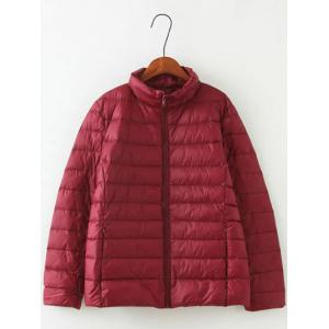 Long Sleeve Padded Down Jacket - Wine Red - Xl