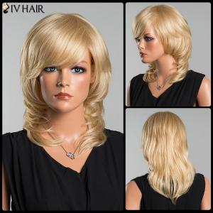 Siv Long Oblique Bang Wavy Tail Adduction Human Hair Wig