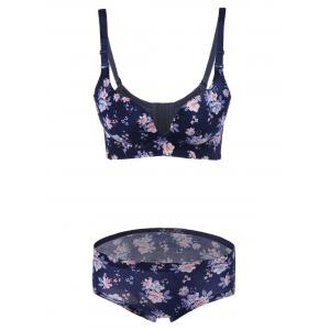 Push-Up Floral Bra and Panty Set - Deep Blue - 75b