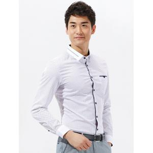 Argyle Print Long Sleeve Pocket Shirt